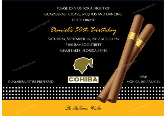 Cigar Box Label Party Invitation Qty 25 100 Pricing Etsy