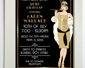 Great Gatsby Birthday Party Invitation  DIGITAL FILE