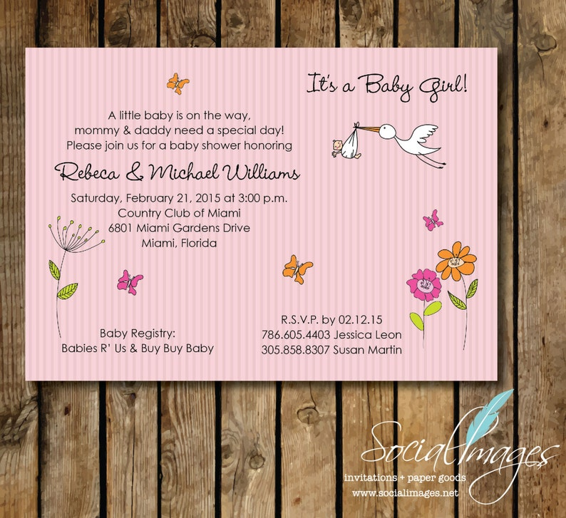 Stork Baby Shower Invitation DIGITAL FILE Boy or Girl  7 X 5