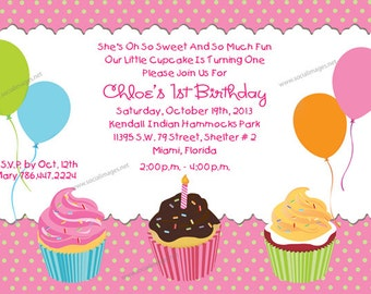 Cupcakes Birthday INVITATION Printed or Digital/DIY Printable File