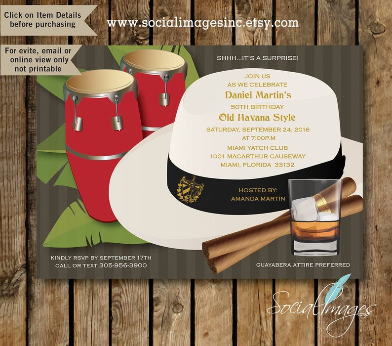 Havana Nights BONGOS Party Invitation EVITE DIGITAL File