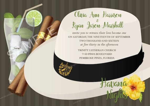 Havana Nights Wedding Invitation Qty 80 With Matching Labels Etsy