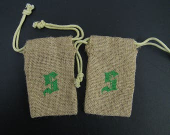 "2 pcs Burlap Bags with letter S stamped on it 3""x5"""