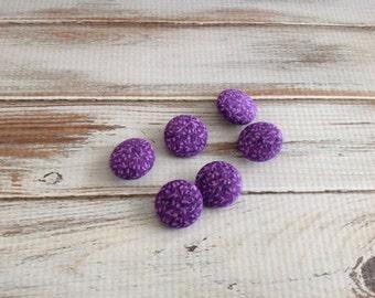 """6 Purple Cotton Buttons 3/4"""" 30L"""