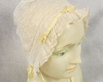 19th Century Elaborate Antique Lace Bonnet