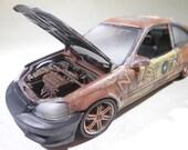 ScaleModelCar, HondaCivic, RatRod, OOAK, 124Scale, JunkerModelCar,Graffiti,DriftCar,HotRod,RustedWreck,Classicwrecks
