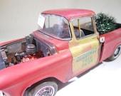 ScaleModelTruck,124Scale,Xmass, Chevy Truck, RatRod, OOAK, ToyTruck,Red Truck,ModelHobby