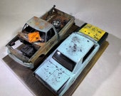 Model car, 124scale, diorama ,ford truck,Pontiac gto,ooak,ratrod,Classicwrecks ,junkermodel,scale model car