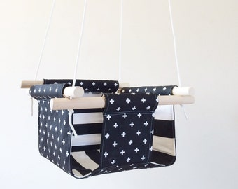 Black and White Swiss Cross Fabric Baby and Toddler Swing - Fabric and Wood Interior Swing