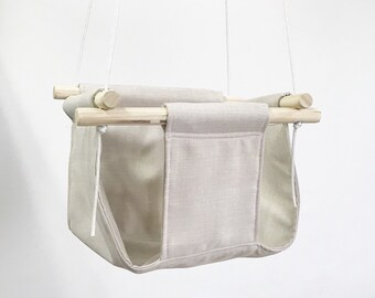 Linen Style Fabric Baby and Toddler Swing - Boho Baby Fabric and Wood Swing
