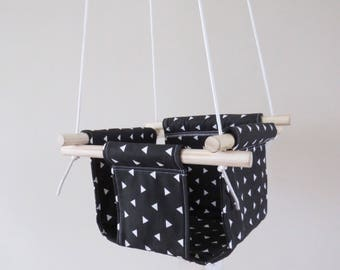 Black and White Triangles Baby and Toddler Fabric Swing - Black and White Fabric and Natural Wood Interior Swing Chair for Kids