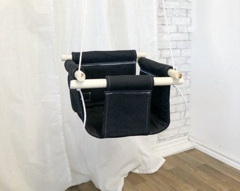 Black Fabric Baby and Toddler Swing - Fabric and Wood Interior Swing