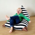Black and White Kids Bean Bag - Pouf - Striped Fabric - Printed Canvas and Leatherette Child Seat