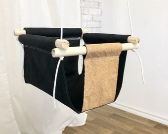 Black and Cork Fabric Baby and Toddler Swing - Fabric and Wood Interior Swing