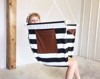 Hammock Hanging Chair with vegan leather pocket and insertions - Cocoon - Adult and Big Kids Swing Chair - Indoor swing