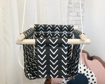 Charcoal Boho Fabric Baby and Toddler Swing - Boho Baby Fabric and Wood Swing