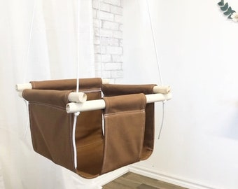 Rust Solid Fabric Baby and Toddler Swing - Fabric and Wood Interior Swing