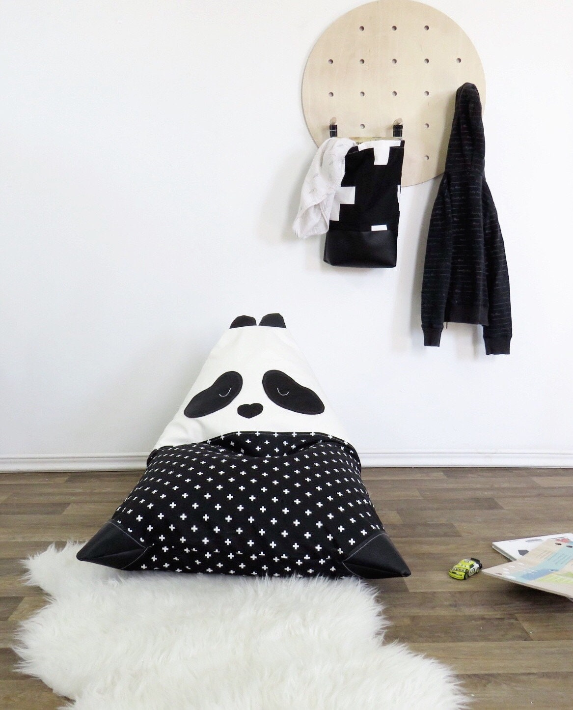 Panda Bear Kids Bean Bag Chair Toddler Black And White