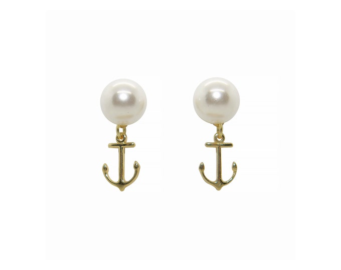 Featured listing image: Anchor Drop Earrings, Pearl Stud Earrings, Gold Anchor Earrings, Preppy earrings, nautical earrings, anchor stud earrings, spring earrings