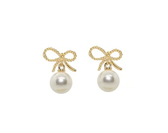 Gold Bow Earrings, Pearl Dangle Earrings, Pearl Drop Earrings, Party Earrings, pearl earrings, gold bow, ribbon earrings, gift for her