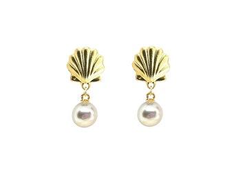 Scallop shell Earrings, Pearl Dangle Earrings, gold shell earrings, scallop Earrings, pearl earrings, scallop shell, gift for her, beach