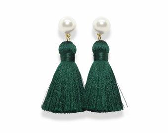 Green Tassel Earrings, Pearl Tassel Earrings, Jade Tassel Earrings, Green Tassels, Dark green earrings, pearl earring, spring earrings