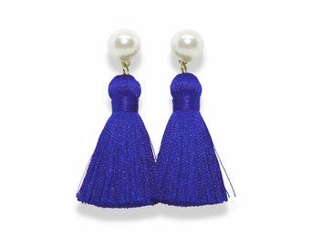 Tassel Earrings, Pearl Tassel Earrings, Classic Blue Tassel Earrings, Classic Blue earrings, spring earrings, Pearl stud earring, pantone
