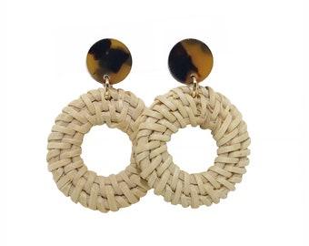 Rattan Earrings, Tortoise Stud Earrings, tortoise Drop Earrings, Circle Earrings, statement earrings, woven, spring earrings
