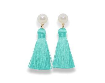 Turqoise Tassel Earrings, Pearl Tassel Earrings, aqua Tassel Earrings, turqoise Tassel, Silk Tassel Earring, blue tassel, spring earrings