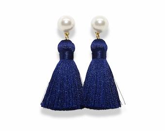 Navy Tassel Earrings, Pearl Tassel Earrings, Silk Tassel Earrings, Navy Tassels, Pearl stud earrings, trendy earrings, spring earrings