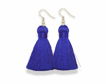 Blue Tassel Earrings, Gold Dangle Tassel Earrings, Classic Blue Tassel Earrings, Silk Tassel Earring, Classic Blue, pantone, spring earrings