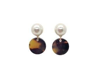 Tortoise Shell Earrings, Pearl Earrings Studs, Tortoise Earrings, Acetate Earrings, pearl studs, , pearl earrings