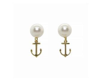 Anchor Drop Earrings, Pearl Stud Earrings, Gold Anchor Earrings, Preppy earrings, nautical earrings, anchor stud earrings, spring earrings