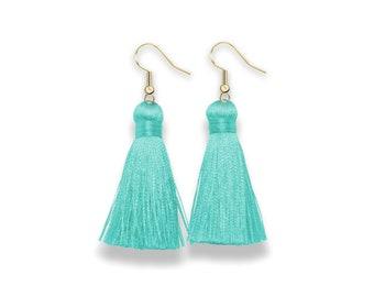 Aqua Tassel Earrings, Dangle Tassel Earrings, turqoise Tassel Earrings, Silk Tassel Earring, turqoise tassel, spring earrings
