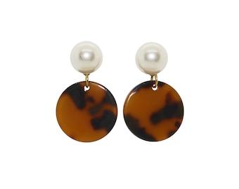 Pearl Stud Earrings, Tortoise Shell Earrings, Pearl Drop Earrings, Circle Acetate Earrings, dangle earrings, stud earrings, spring earrings