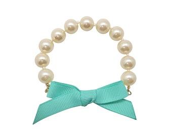 Turquoise bow pearl bracelet, bow bracelet, pearl bracelet, aqua bow bracelet, preppy jewelry, turquoise ribbon bracelet, spring bracelet