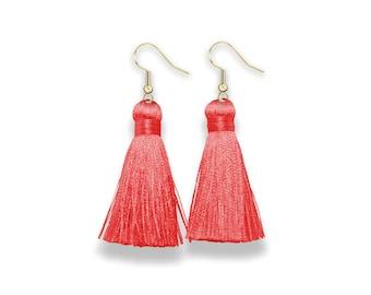 Tassel Earrings, Dangle Tassel Earrings, coral Tassel Earrings, pink Tassel, Silk Tassel Earring, , coral tassel, spring earrings