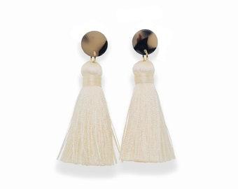Light Tortoise Earrings, Tassel Earrings, Tortoise Tassel Earrings, Tortoise Shell, Cream Tassels, Silk Tassel Earrings, summer jewelry