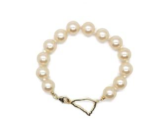 South carolina bracelet, glass pearl bracelet, south carolina jewelry, sc bracelet, beach wedding jewelry, bridesmaid gifts, coastal jewelry