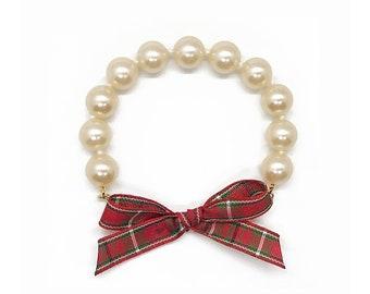Red Plaid Ribbon Bracelet, Glass Pearl Bracelet, Ribbon bracelet, plaid ribbon, plaid bracelet, ribbon bracelet, holiday bracelet