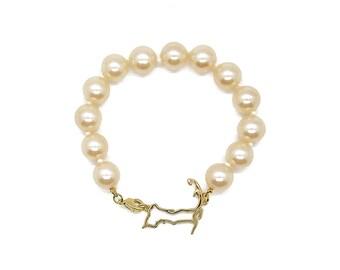 Cape Cod pearl bracelet, glass pearl bracelet, Cape Cod jewelry, Cape Cod bracelet, cape cod charm, coastal jewelry, nautical bracelet