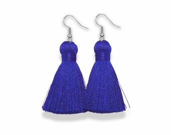 Tassel Earrings, Silver Dangle Tassel Earrings, Classic Blue Tassel Earrings, Silk Tassel Earring, Classic Blue, spring earrings, pantone