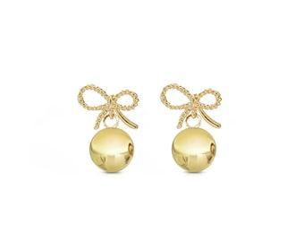 Gold Bow Earrings, Gold Dangle Earrings, Gold Drop Earrings, Party Earrings, gold earrings, gold bow, ribbon earrings, gift for her