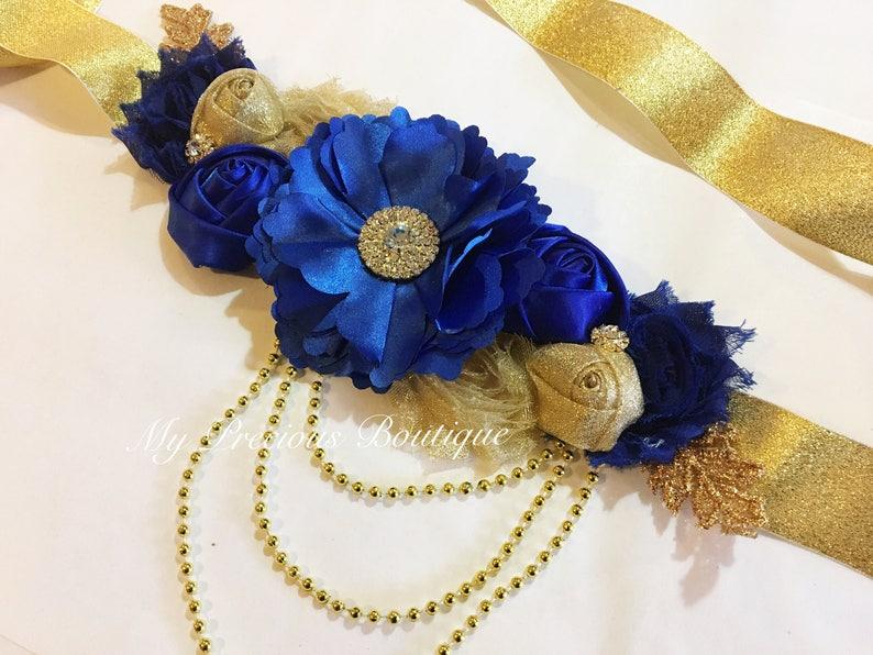 626fe47e7a6 Ceinture de maternité bleu roi et or ceinture de grossesse