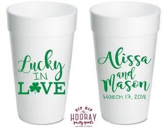 Shamrock  Wedding Personalized Stadium Plastic Cups Bachelorette Party Kiss Me I/'m Irish Wedding Favor Engagement Party Favor