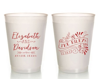 Foam Party Cups 1816 Foam Cups Anniversary Cups Bridal Shower Cups Custom Party Cups Wedding Cups Monogrammed Cups Wedding Cups