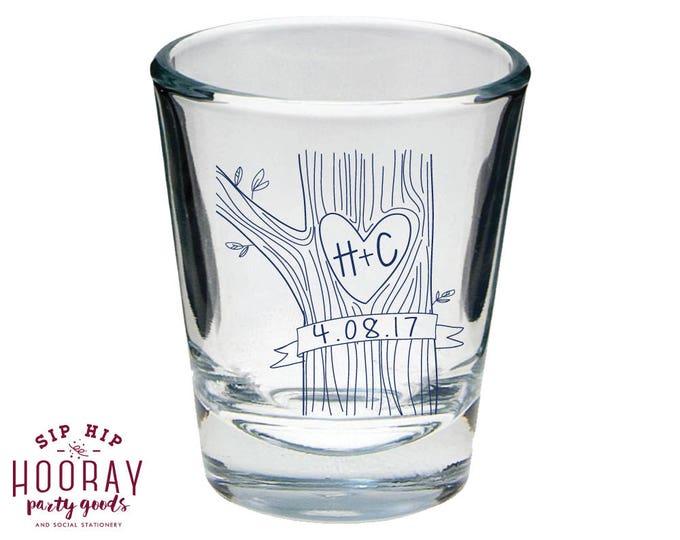Custom Shot Glasses Wedding Shot Glasses Wedding Tree 1755 Rehearsal Dinner Carved Initials Shot Glasses Shot Glass Wedding Favors