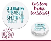 Celebrating Baby, Baby Shower Favors, Shower Favors, Drink Coaster, Beer Coasters, Baby Shower Coasters, Couples Shower, New Baby, 1677