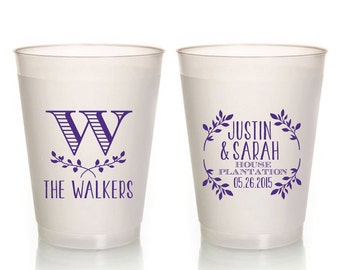 monogrammed floral frosted wedding cup monogrammed shower favors bridal shower cups pretty wedding cups personalized wedding favor 1055