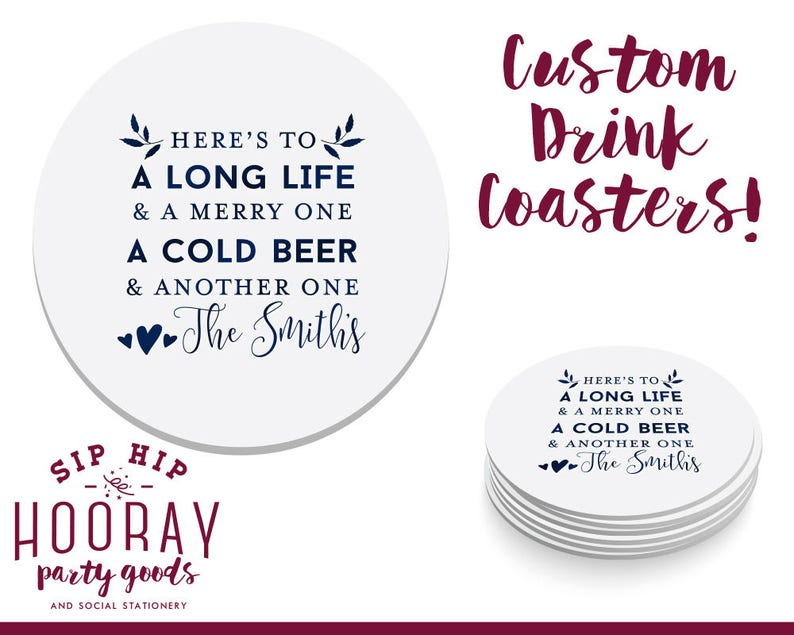 Personalized Coaster Heres To A Long Life Coasters Party Favors Wedding Coasters Engagement Party Favors Custom Anniversary Gifts 1818